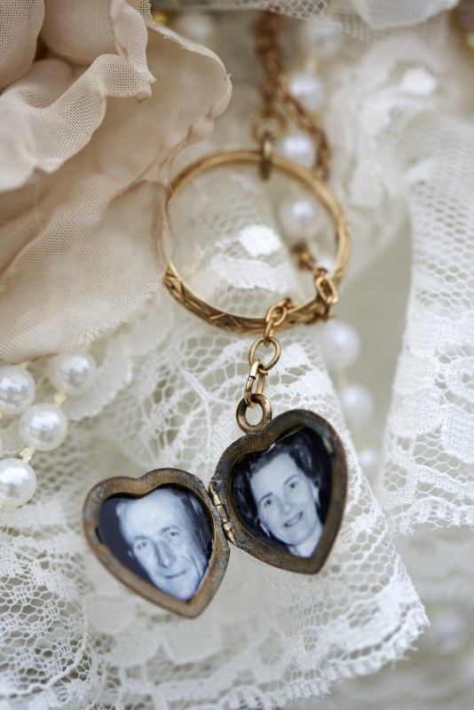 Gruene Estate Bridal Boquete Locket with Grandparents Pictures
