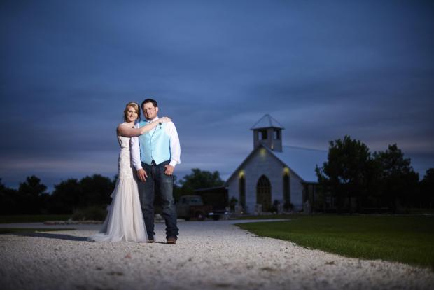 Blue hour wedding couple portraits.