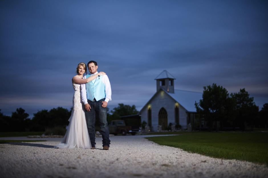 Blue hour wedding couple portraits.