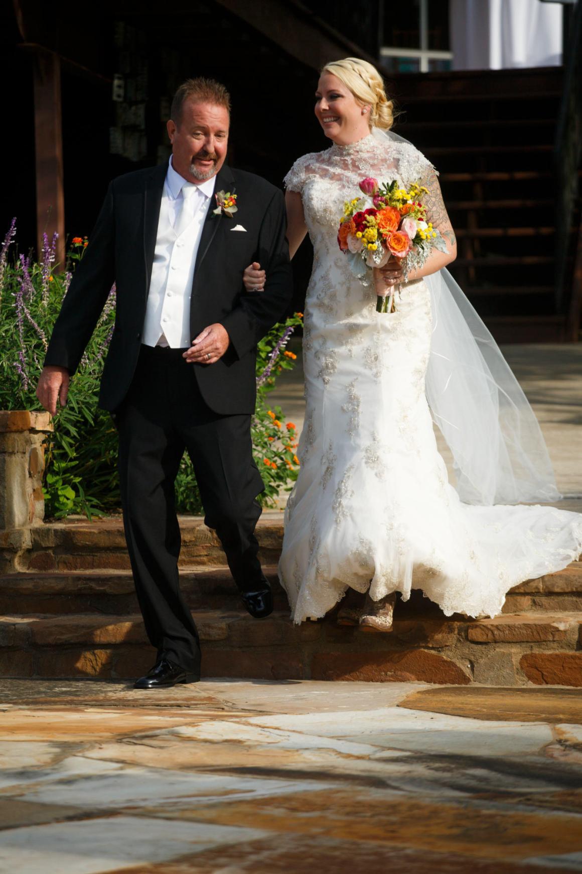 Bride enters the ceremony at TerrAdorna in Austin, Tx