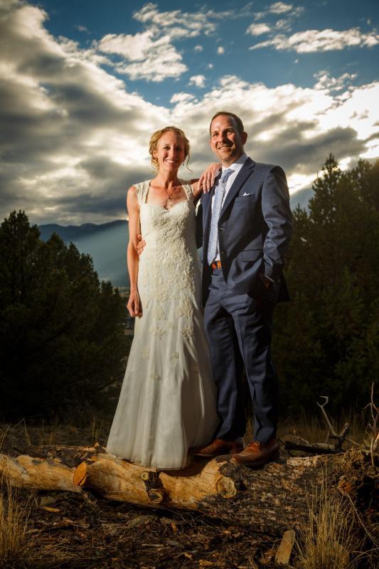 Allison and Gabe mountain top wedding portraits in Buena Vista Colorado during their DIY wedding.