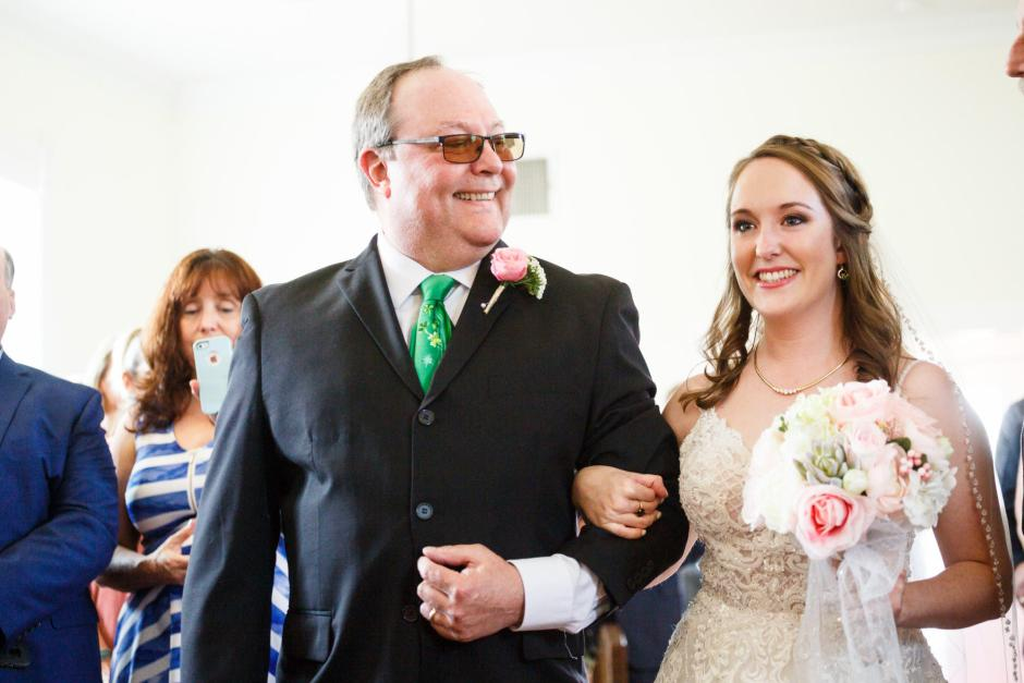 Joshua and Brittany Wedding - Dad walking bride in for her wedding at Hyde Park Presbyterian Church in Austin, TX.