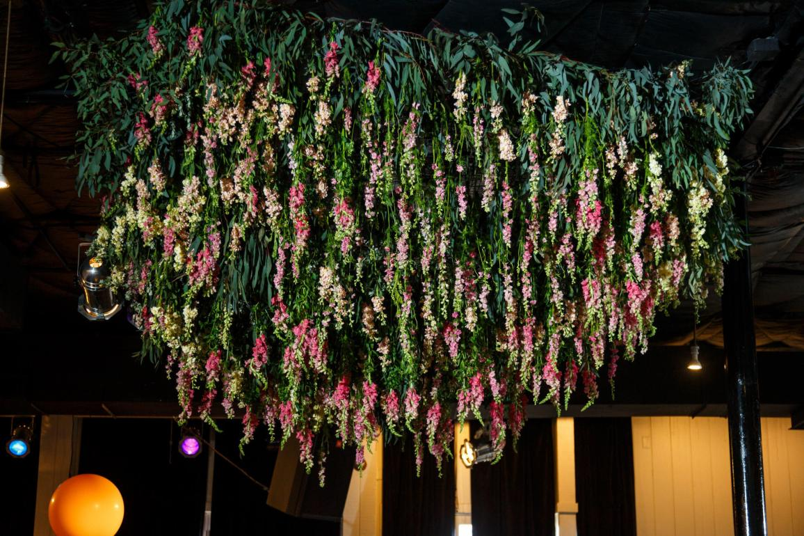 Mike and Kathie's Palm Door on Sixth wedding flower chandelier designed by Valerie Wolf of David Gray