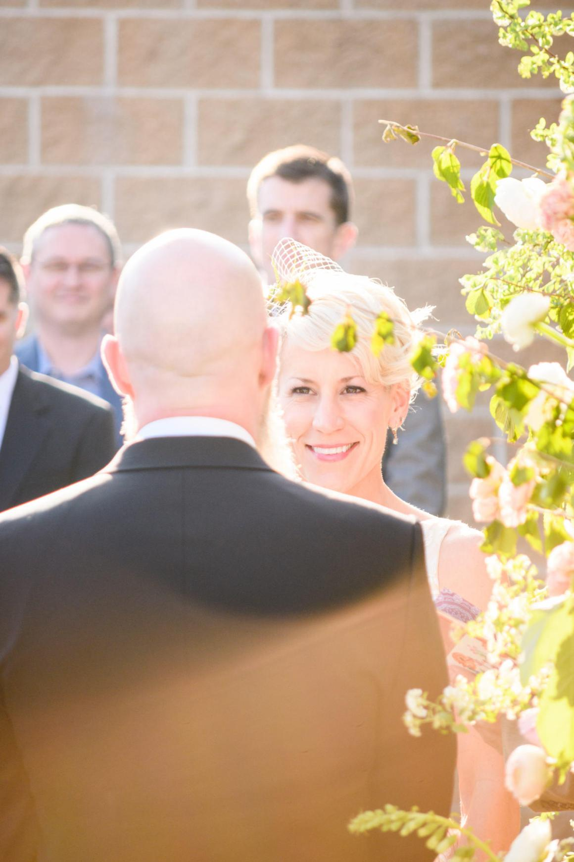 Mike and Kathie Palm Door on Sixth Courtyard Wedding Ceremony
