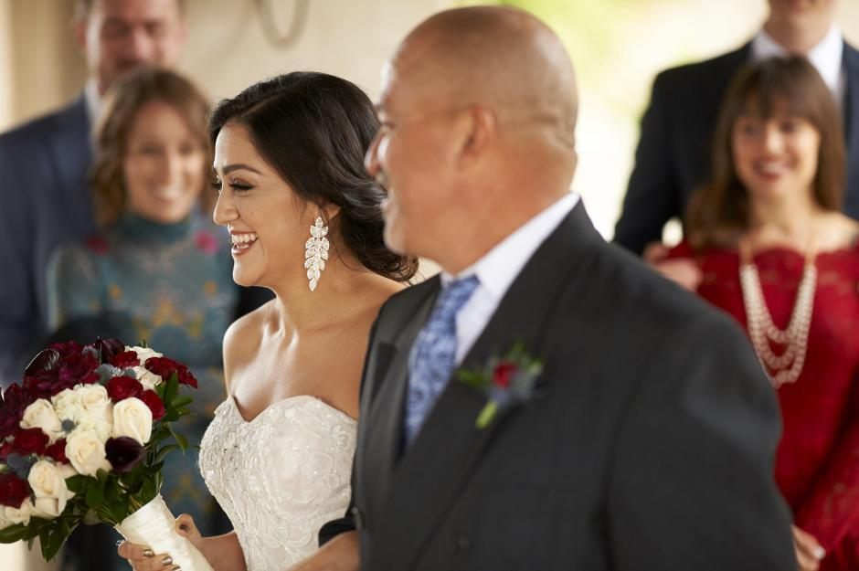 The bride arrives that her Chapel Dulcinea elopement wedding ceremony.