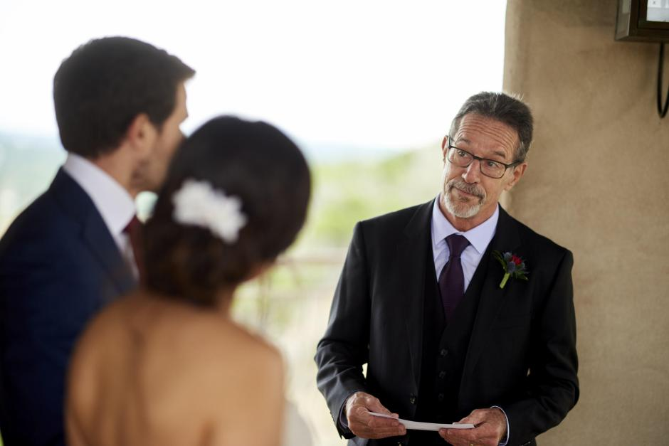 The groom's dad speaks to the bride and groom at their Chapel Dulcinea elopement.