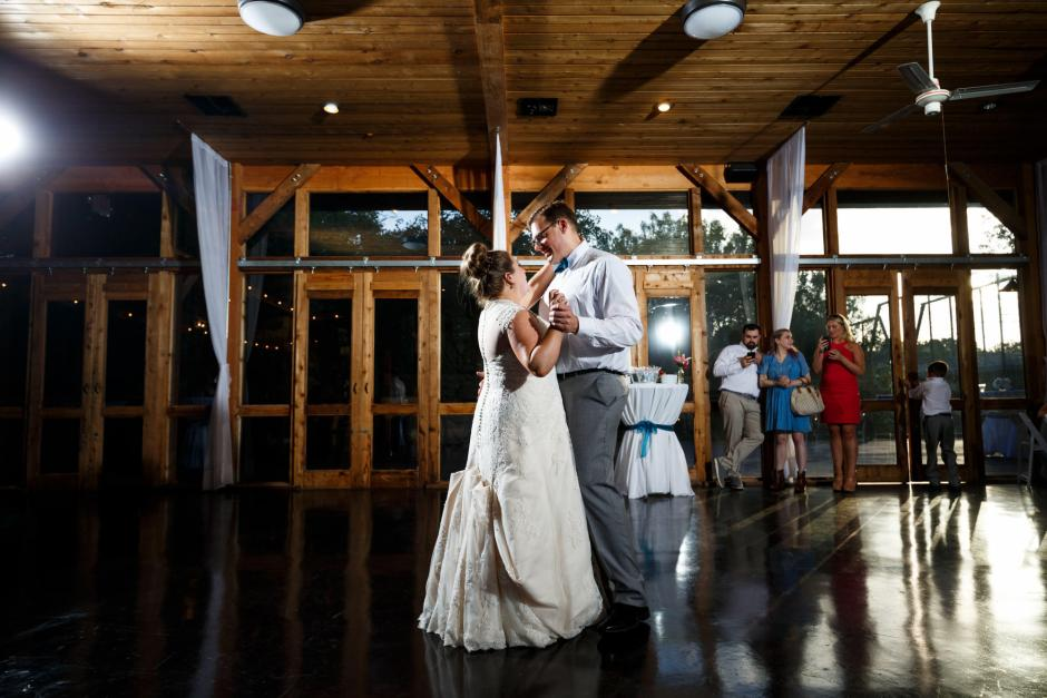 Bride and groom have their first dance at The River Venue wedding reception during a New Braunfels Wedding.