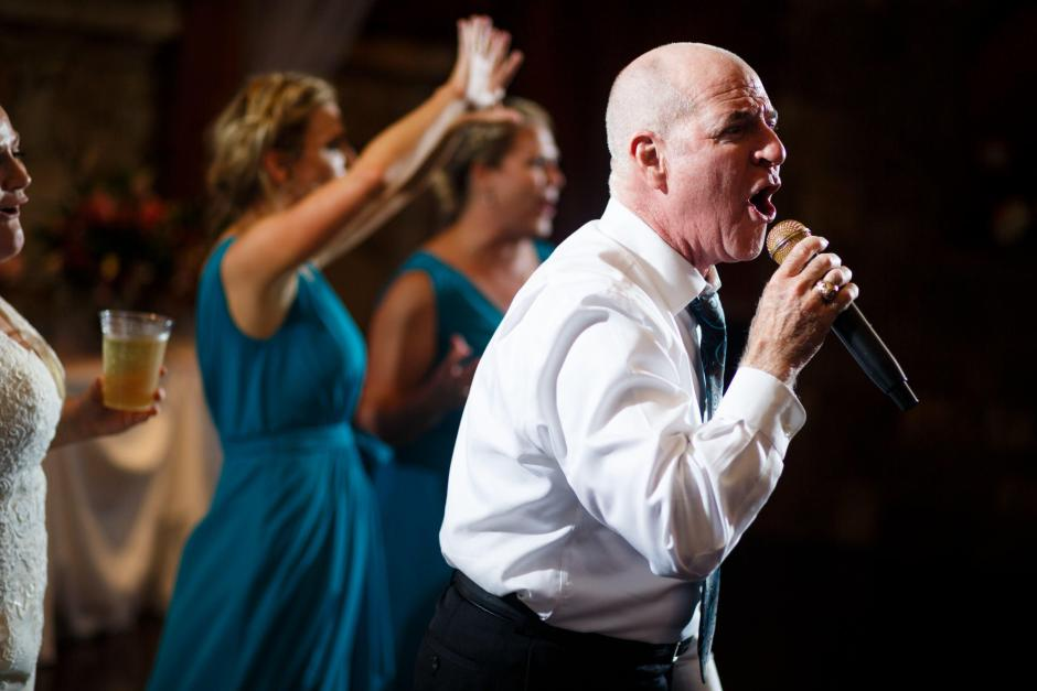 Father of the bride belts out Bennie and the Jets live with backup from his daughter the bride at The River Venue in New Braunfels Texas.