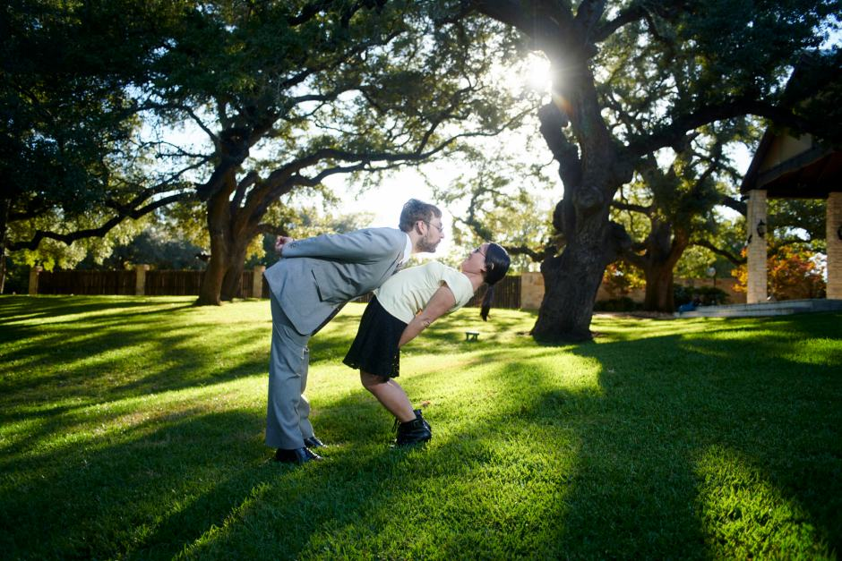 Cute engagement photos under the huge oak trees at Cathedral Oaks in Belton.