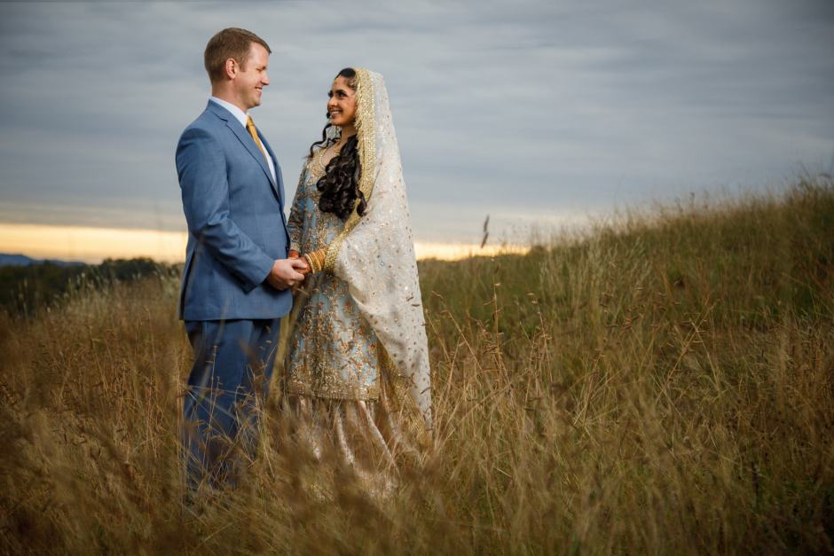 Bride and Groom pre-wedding couple's prewedding portrait in a grassy Texas field - Jay and Samira - Heart of Texas Ranch Wedding in Marble Falls Texas - Indian-Christian Fusion Wedding