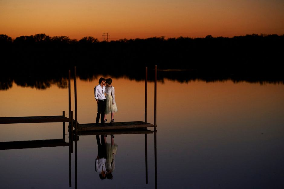 Austin Wedding Styled - Styled Elopement - Bride and Groom enjoy sunset reflections at a secluded spot.