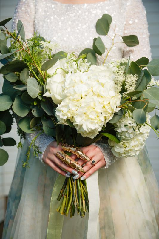 Austin Wedding Style - Styled Country Elopement - White Hydrangea Bridal Bouquet and details of brides funky jewelry.