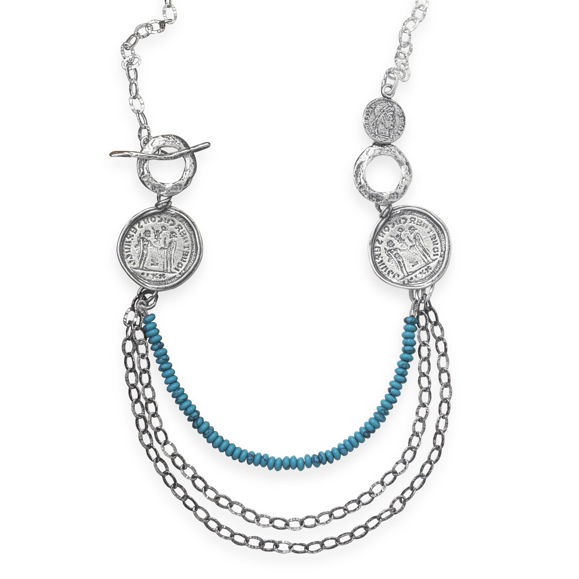 Bib Necklace With Ancient Roman Coin Replicas Side Toggle