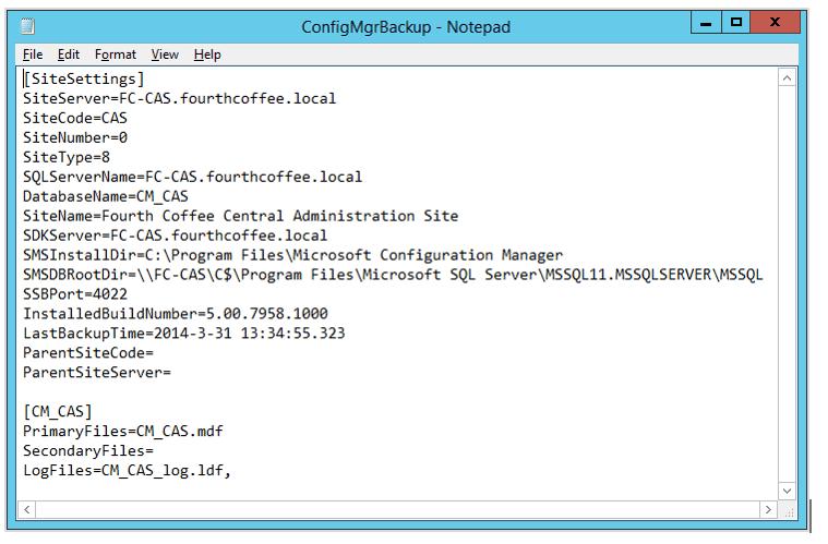 ConfigMgrBackup.ini example file