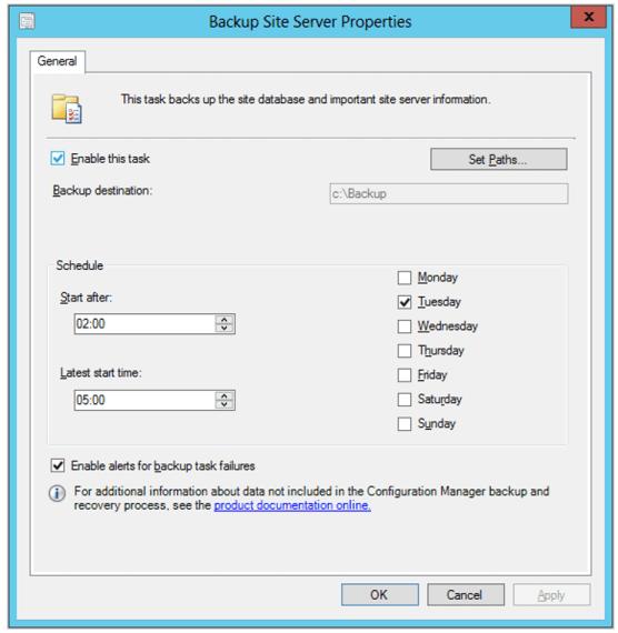 Backup Site Server Task Properties