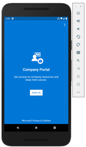 Machine generated alternative text: 2:43 @  Company Portal  Get access to company resources and  keep them secure.  SIGN IN  Microsoft privacy & Cookies