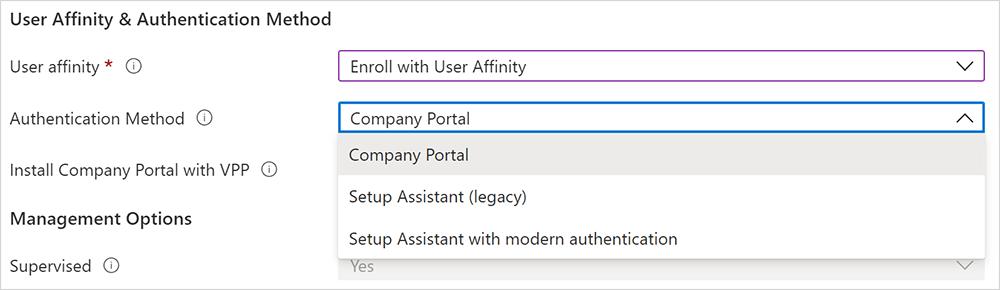 Screenshot of authentication method options.