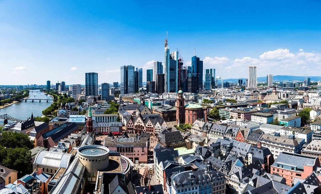 Frankfurt Germany city skyline.
