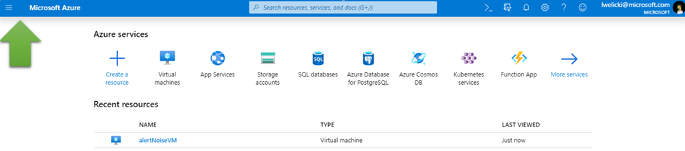A screenshot pointing out the menu button in the Azure portal.