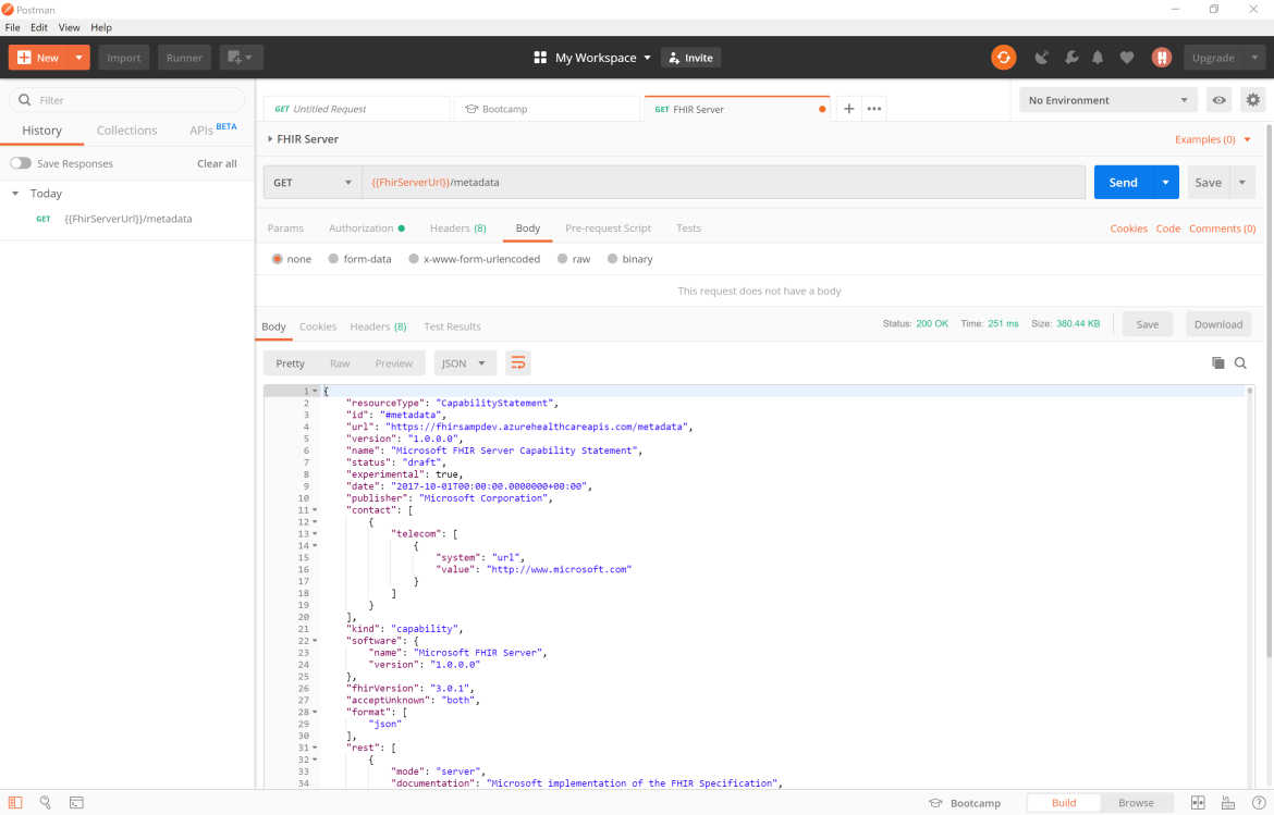 Check the capability statement from the /metadata endpoint in Postman
