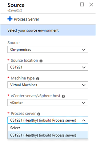 Screenshot of selecting a source environment in Process Server