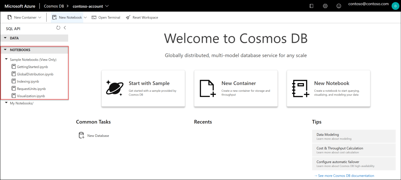 Azure Cosmos DB notebooks sample gallery.