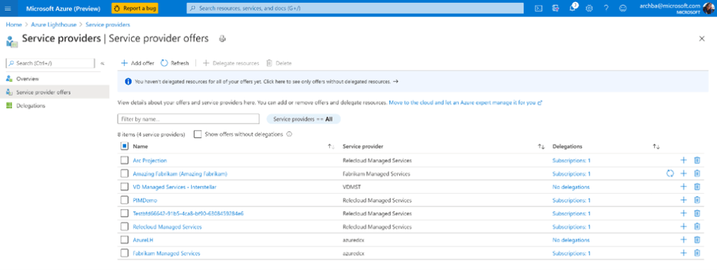 An example of a customer using Azure Lighthouse to manage multiple service providers