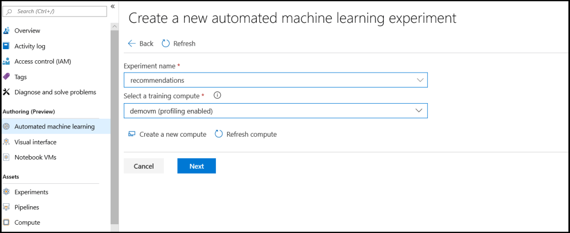Creating a new automated machine learning experiment