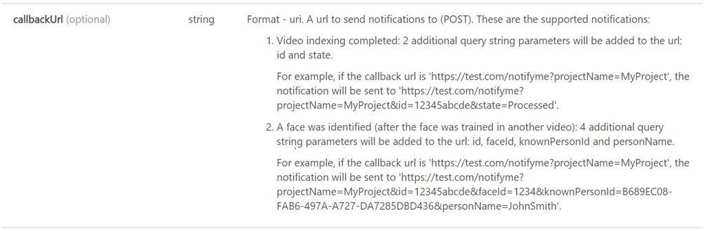 callback URL address field in the uploadVideo API
