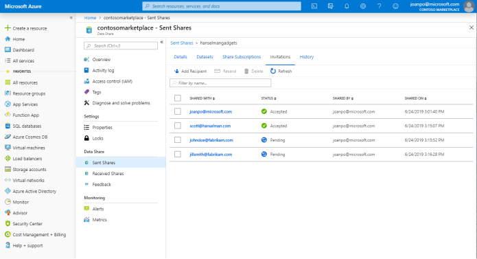 Azure Data Share, view of sent shares in the Azure portal