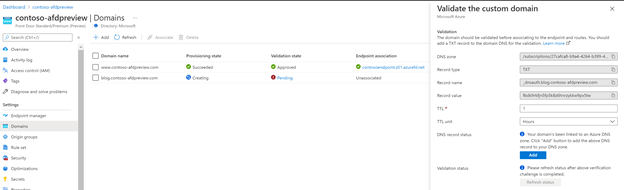 Azure front door - Domain Management Blade.