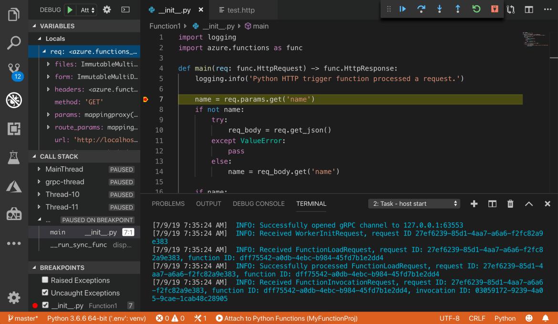 Azure Functions Visual Studio Code development