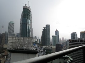 The Petronas Twin Towers is blocked by construction