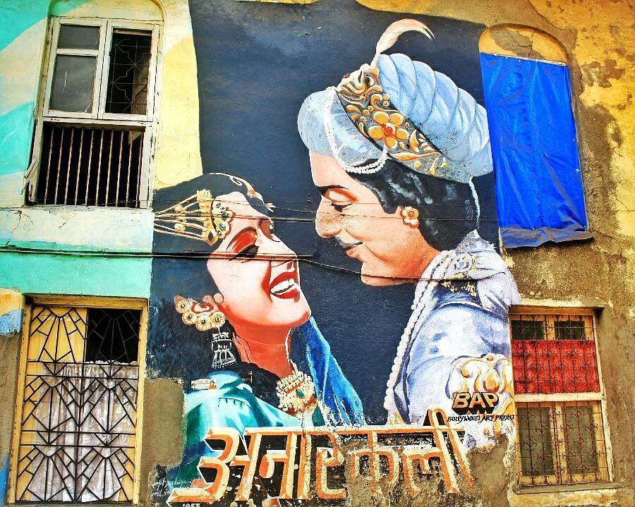 Bombay wall art - Bandra Murals- Wall Art- Graphitti - The Azure Sky Follows- Tania Mukherjee 1- Anarkali Bollywood Mumbai