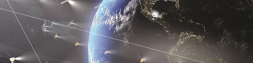 La tierra rodeada de satélites artificiales