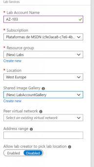 Configuración del Azure Lab
