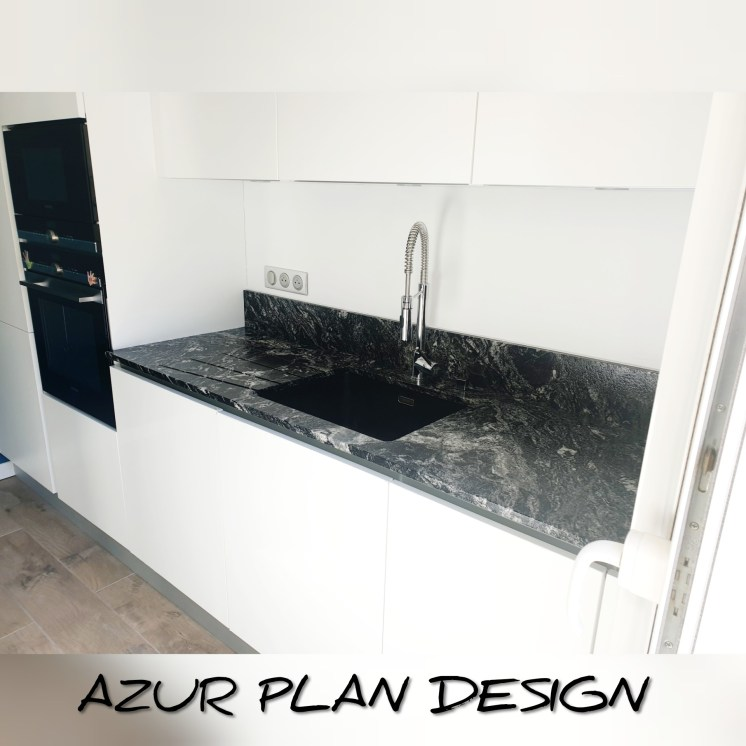 Plan de travail GRANIT BLACK BEAUTY finition Caresse