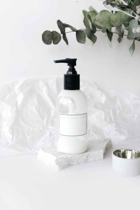 skincare product in bottle on white table