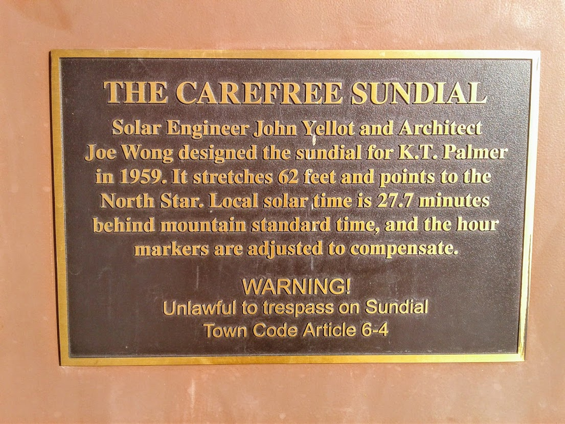 Carefree sundial plaque