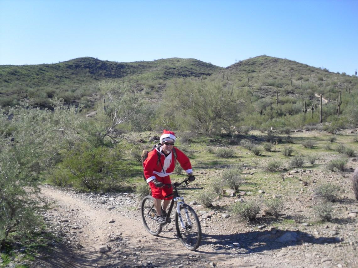 Santa mountain biking in Phoenix