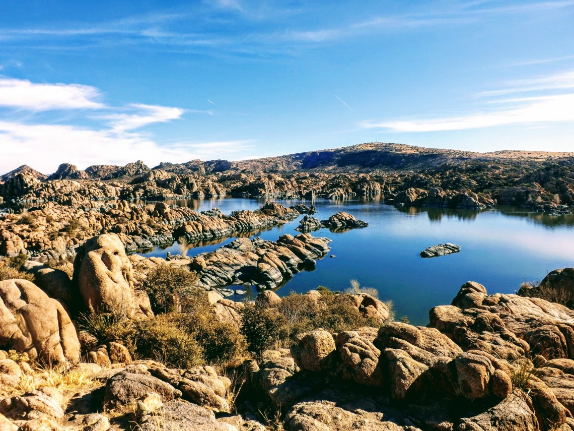 Large boulders emerge from Watson Lake near Prescott, AZ