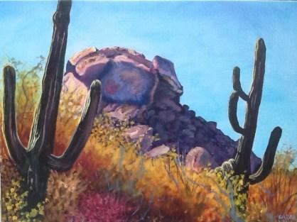 """Old Bones II"" painting represents the ""Boulders"" area in Cave Creek, AZ."
