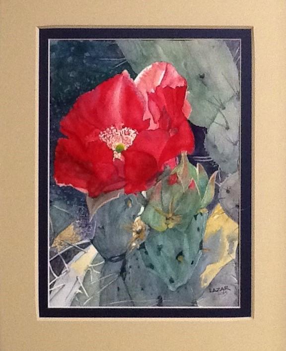 """Screamin' Scarlett"" a watercolor of a Prickly Pear in bloom."