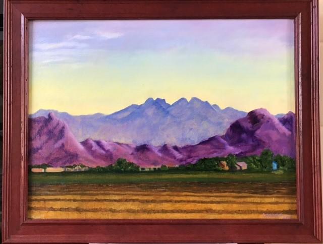 """""""Sunrise over Four Peaks"""" oil on canvas"""