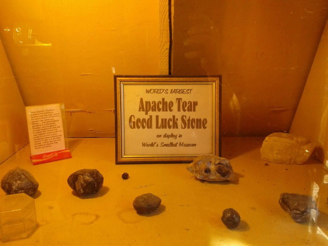 Image of Apache Tear good luck stone on display at the World's Largest Museum