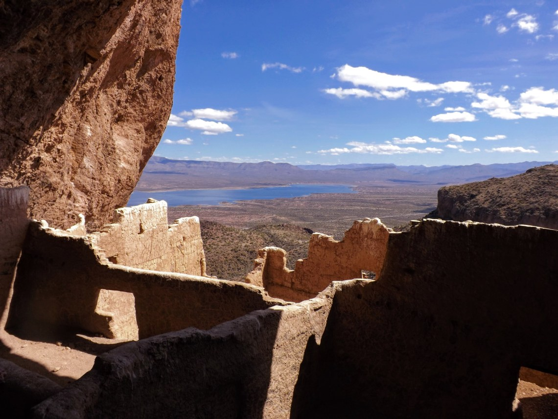 View from inside the cliff dwellings at Tonto National Monument