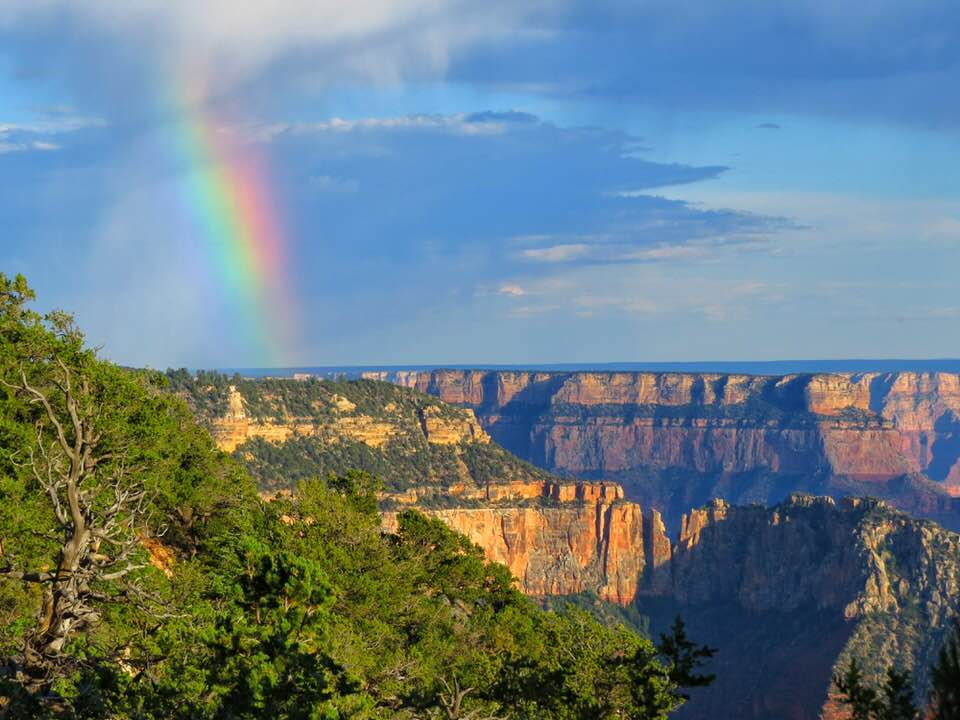 Partial rainbow hovers over the Grand Canyon