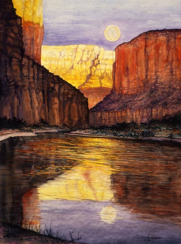 Image of water color painting - moonrise over Colorado River in Grand Canyon