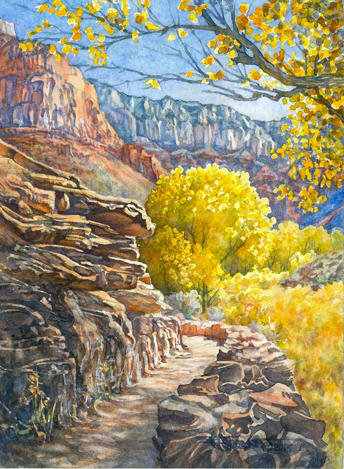 Watercolor image of Grand Canyon trail heading into trees covered in gold leaves