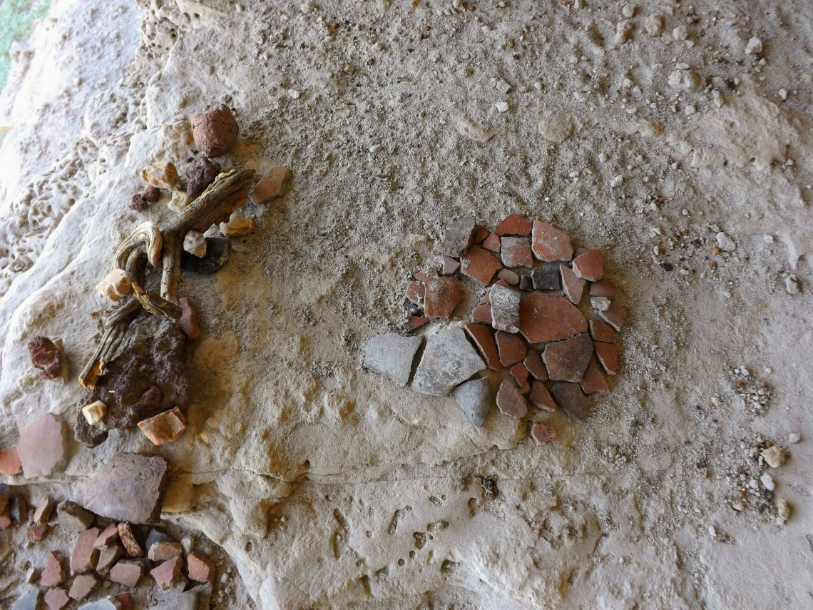Pottery shards arrange in a small cluster